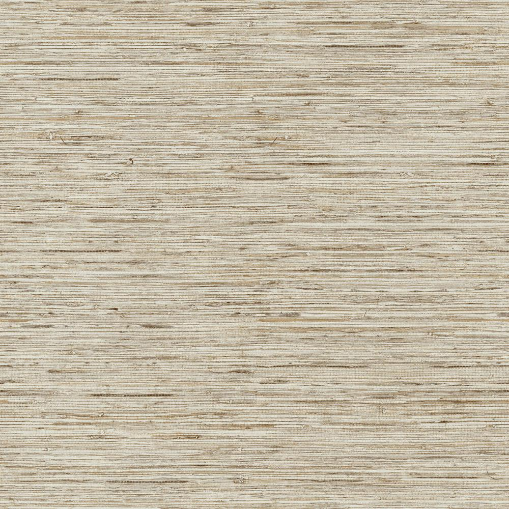 RoomMates RoomMates 28.18 sq. ft. Grasscloth Peel and Stick Wallpaper, Taupe/Gold metallic
