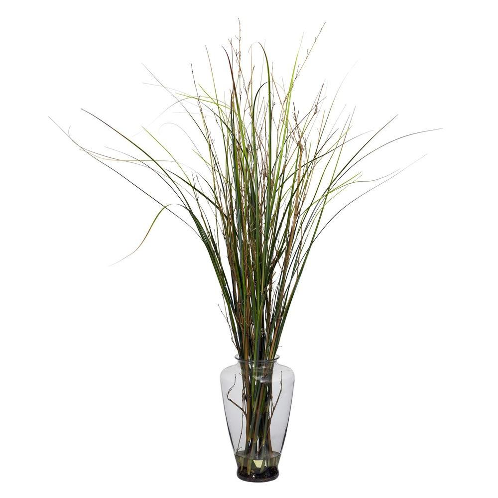 46 in. H Green Grass and Bamboo with Large Jar Silk