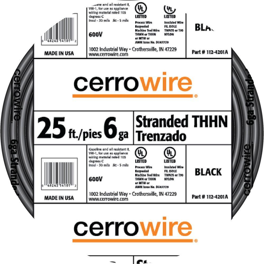 Cerrowire 25 ft. 6-Gauge Black Stranded THHN Wire-112-4201AR - The ...