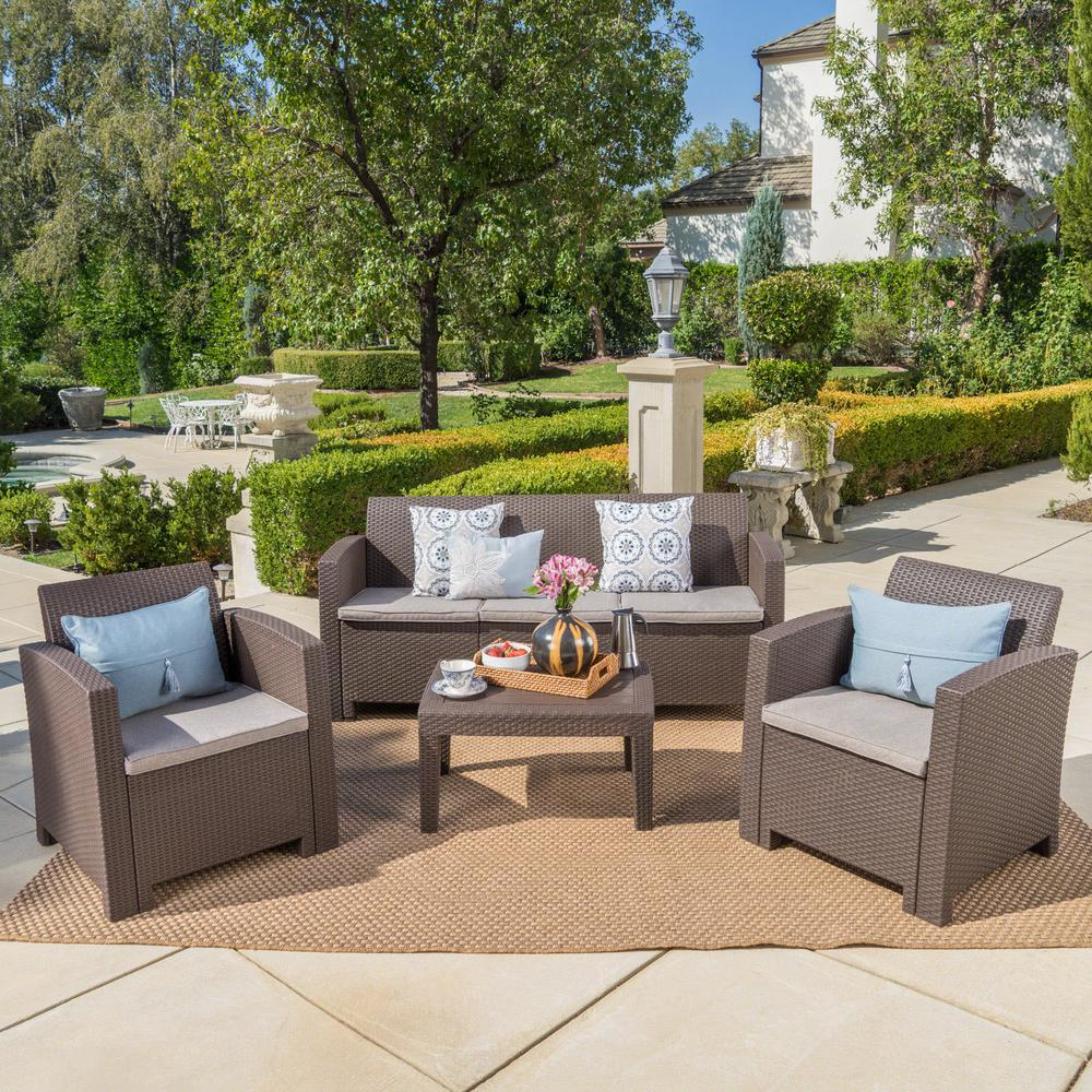 Noble House 4-Piece Faux Wicker Patio Conversation Set with Mixed Beige Cushions