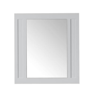 33 in. W x 36 in. H Framed Rectangular  Bathroom Vanity Mirror in Dove Grey