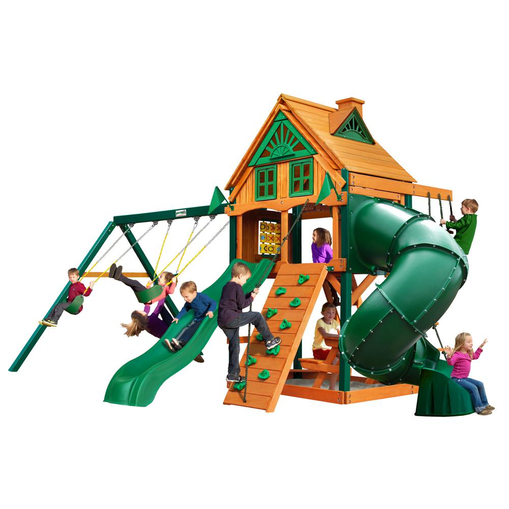 Gorilla Playsets Mountaineer Treehouse Wooden Swing Set with Fort Add-On, Timber ShieldPosts, and 2 Slides