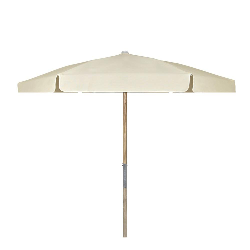 7 5 Ft Wood Beach Patio Umbrella With Natural Vinyl