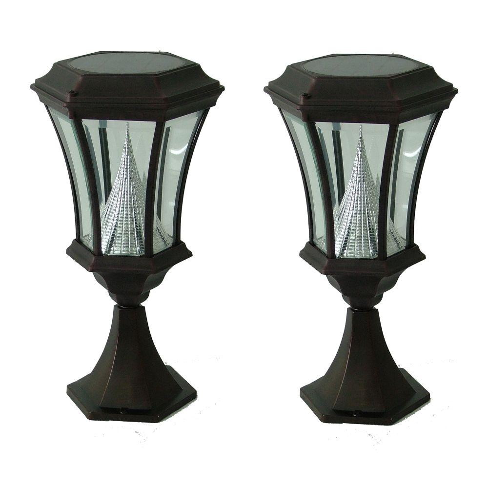 Gama Sonic 17 in. 1-Head Outdoor Black Post Mount Solar Lamp (2-Pack)-DISCONTINUED