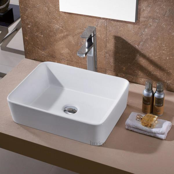 Luxier Rectangular Bathroom Ceramic Vessel Sink Art Basin In White Cs 013 The Home Depot