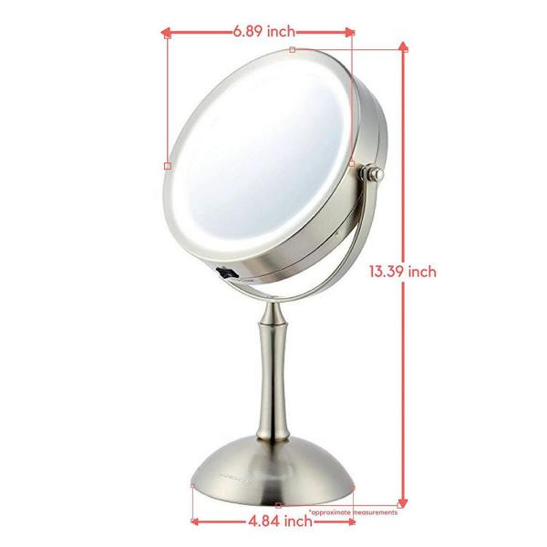 Ovente Lighted Makeup Mirror Cool Led Lighting Illuminated Tabletop Vanity Mirror With 1x Or 8x Magnification Mdt70br1x8x The Home Depot
