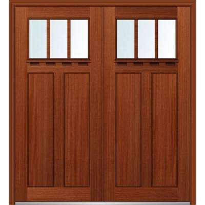 64 in. x 80 in. Shaker Left-Hand Inswing 3-Lite Clear Low-E 2-Panel Stained Fiberglass Fir Prehung Front Door with Shelf