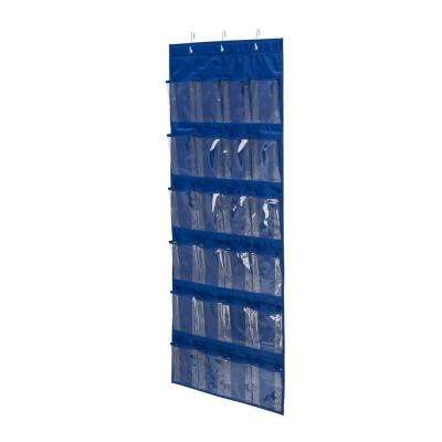 Over-the-Door 24-Pocket Navy Polyester Shoe Organizer