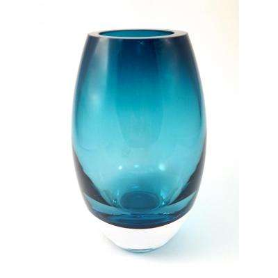 9 in. Peacock Blue European Mouth Blown Crystal Radiant Decorative Vase