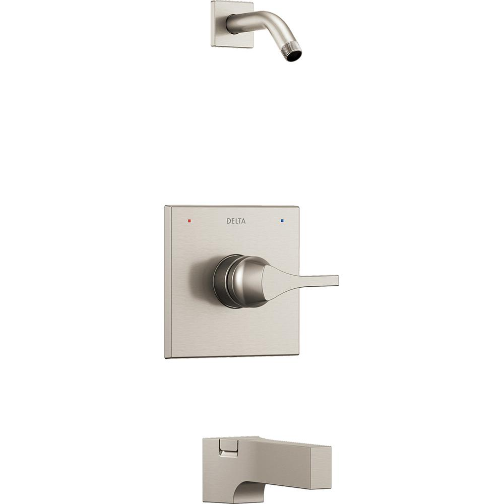 Delta Zura 1-Handle Tub and Shower Faucet Trim Kit in Stainless ...