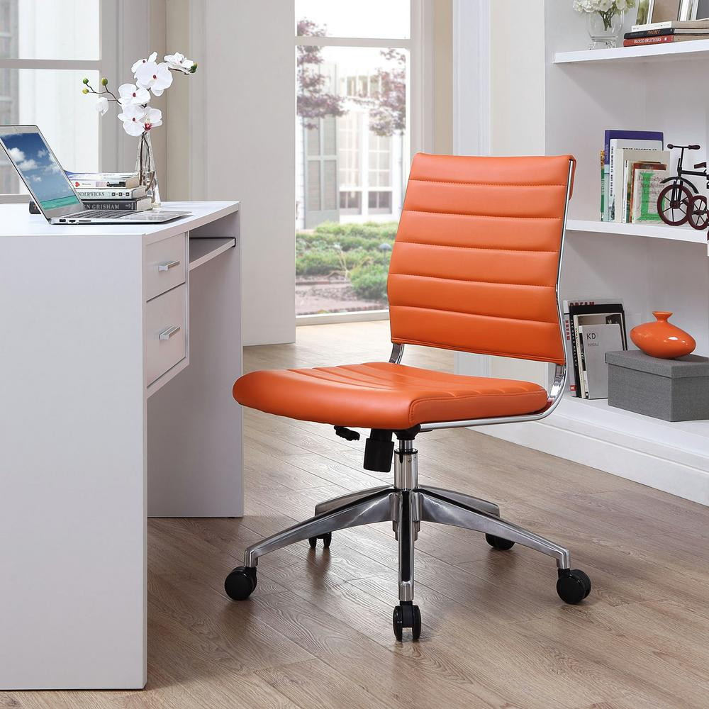 Home Depot Office Chairs: MODWAY Jive Armless Mid Back Office Chair In Orange-EEI