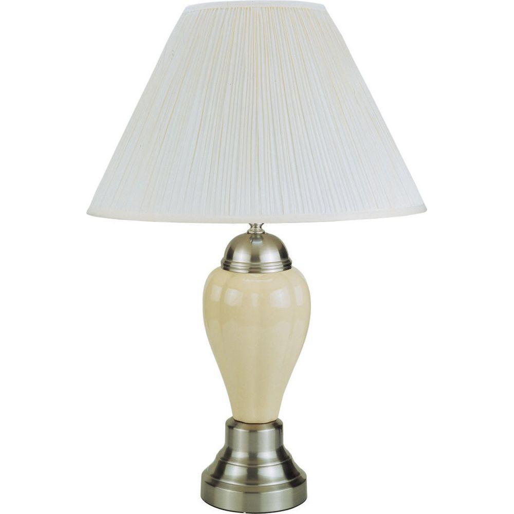 ORE International 27 in. Silver/Ivory Ceramic Table Lamp