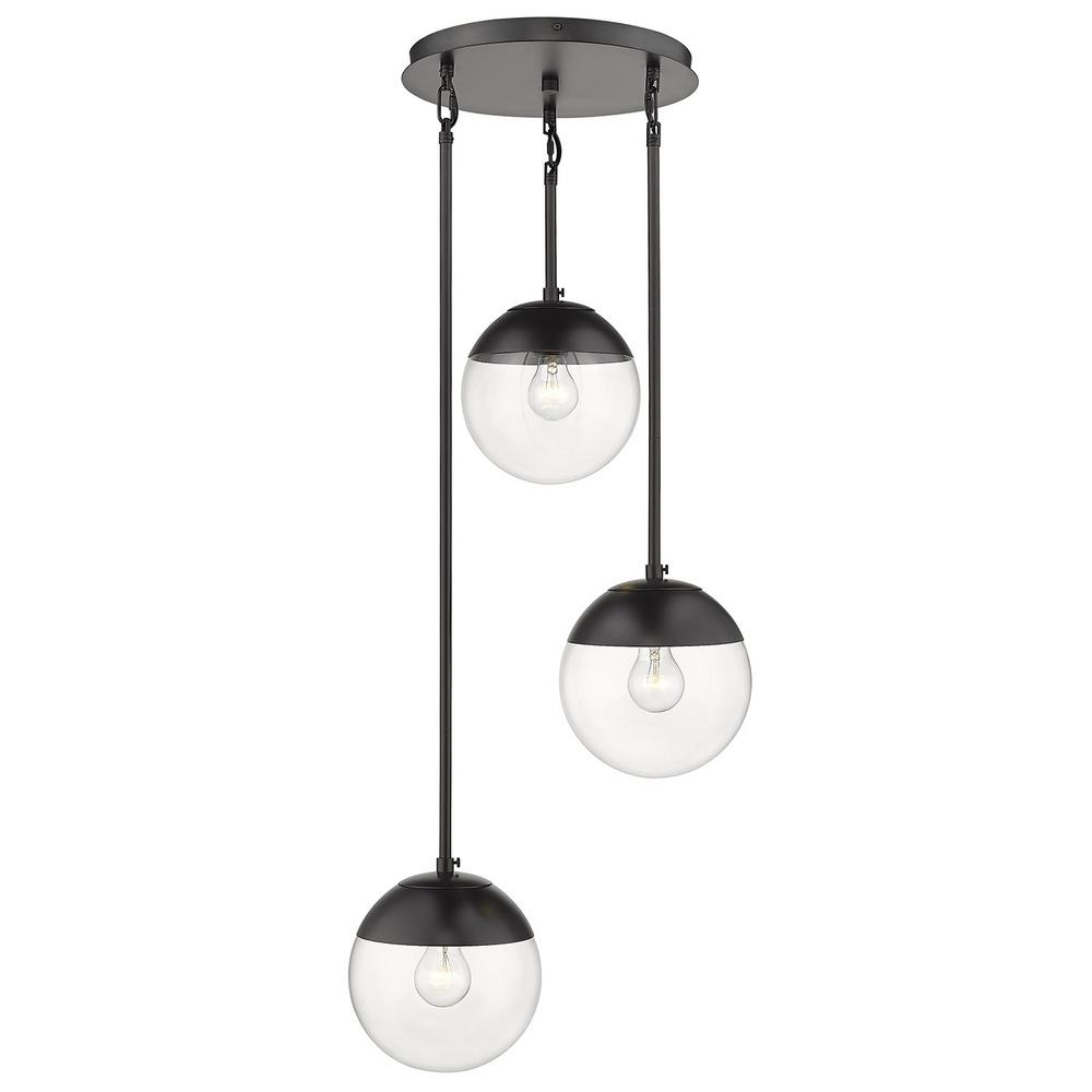 Golden Lighting Dixon 3-Light Pendant in Black with Clear Glass and Black Cap