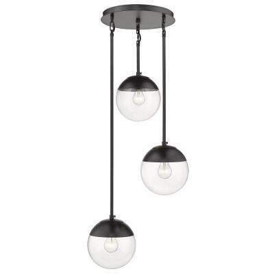 Dixon 3-Light Pendant in Black with Clear Glass and Black Cap