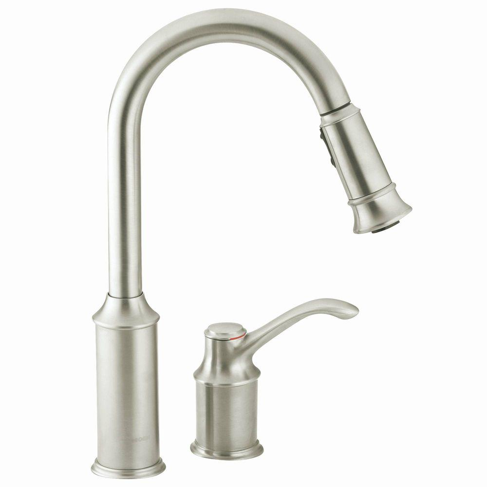 Moen Aberdeen Single Handle Pull Down Sprayer Kitchen Faucet With Reflex In Classic Stainless 7590csl The Home Depot