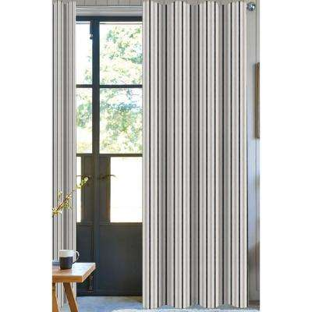 Bryson Stripe Light Filtering Drapery Panel in Brown - 50 in. x 108 in.