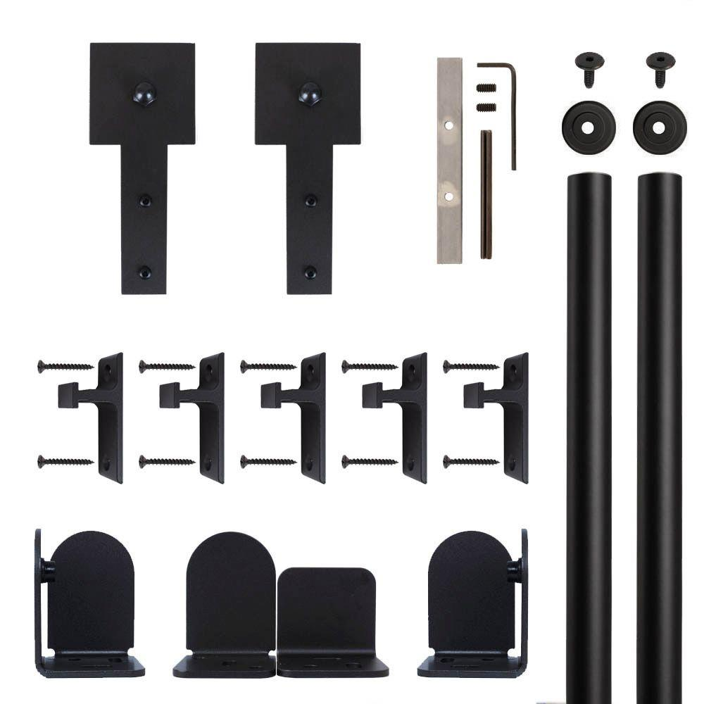 Cube Stick Black Rolling Door Hardware Kit for 3/4 in. to