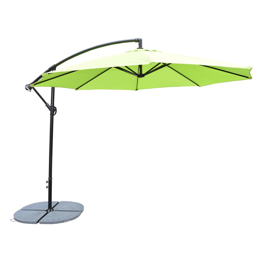 10 ft. Cantilever Patio Umbrella in Lime Green with 4-Piece Casted