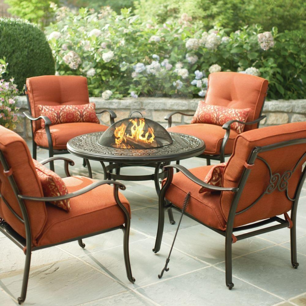 Cold Spring 5 Piece Patio Fire Pit Set With Red Cushions
