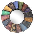 Lord Byron's Compendium of Books 31.5 in. H x 31.5 in. W Round Metal Wall Mirror