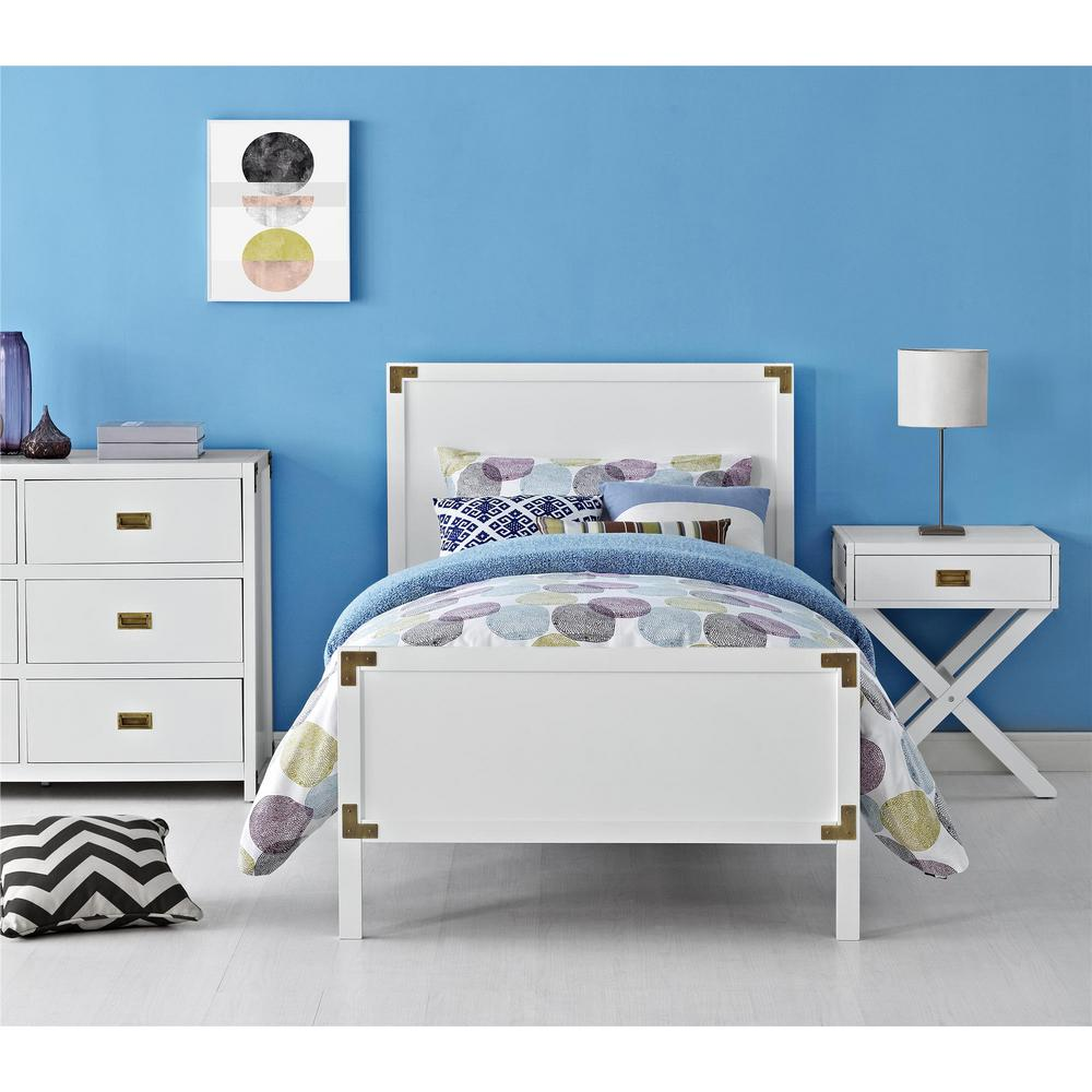 Dorel Living Miles White Twin Bed Frame With Headboard And Footboard Fa7319tb W The Home Depot