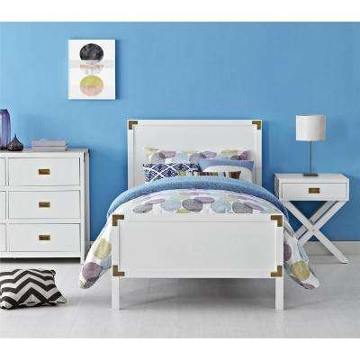 Miles White Twin Bed Frame with Headboard and Footboard