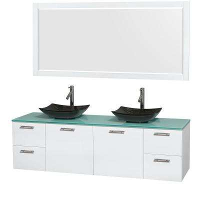 Amare 72 in. Double Vanity in Glossy White with Glass Vanity Top in Green, Granite Sinks and 70 in. Mirror