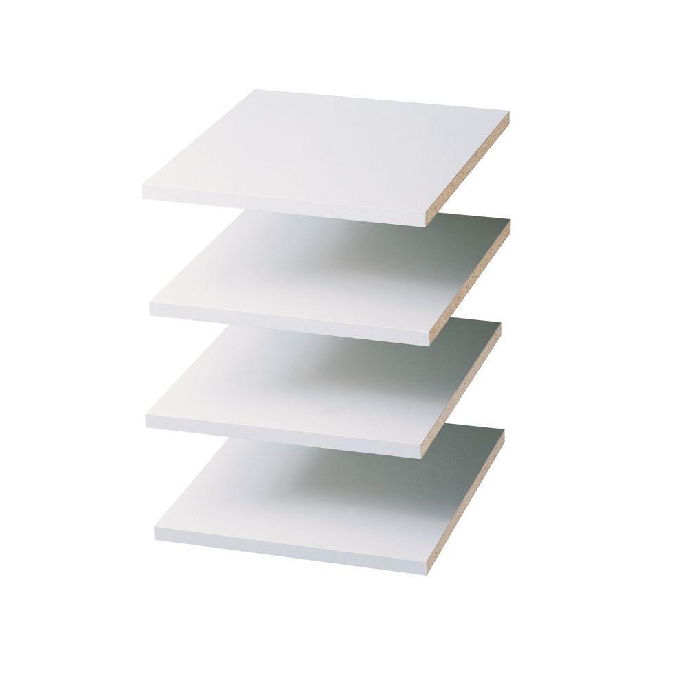 14 in. D x 12 in. W Classic White Wood Shelf (4-Pack)