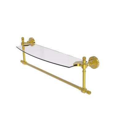 Retro Dot Collection 18 in. Glass Vanity Shelf with Integrated Towel Bar in Polished Brass