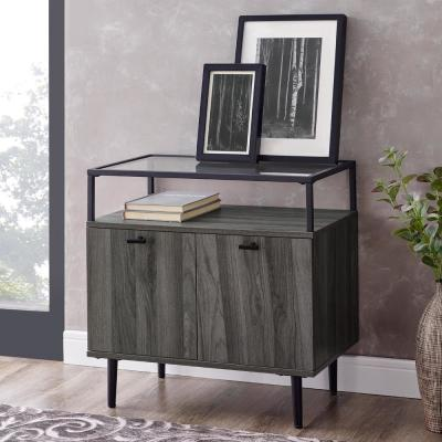 Modern Glass Top 2-Door Side Table - Slate Grey