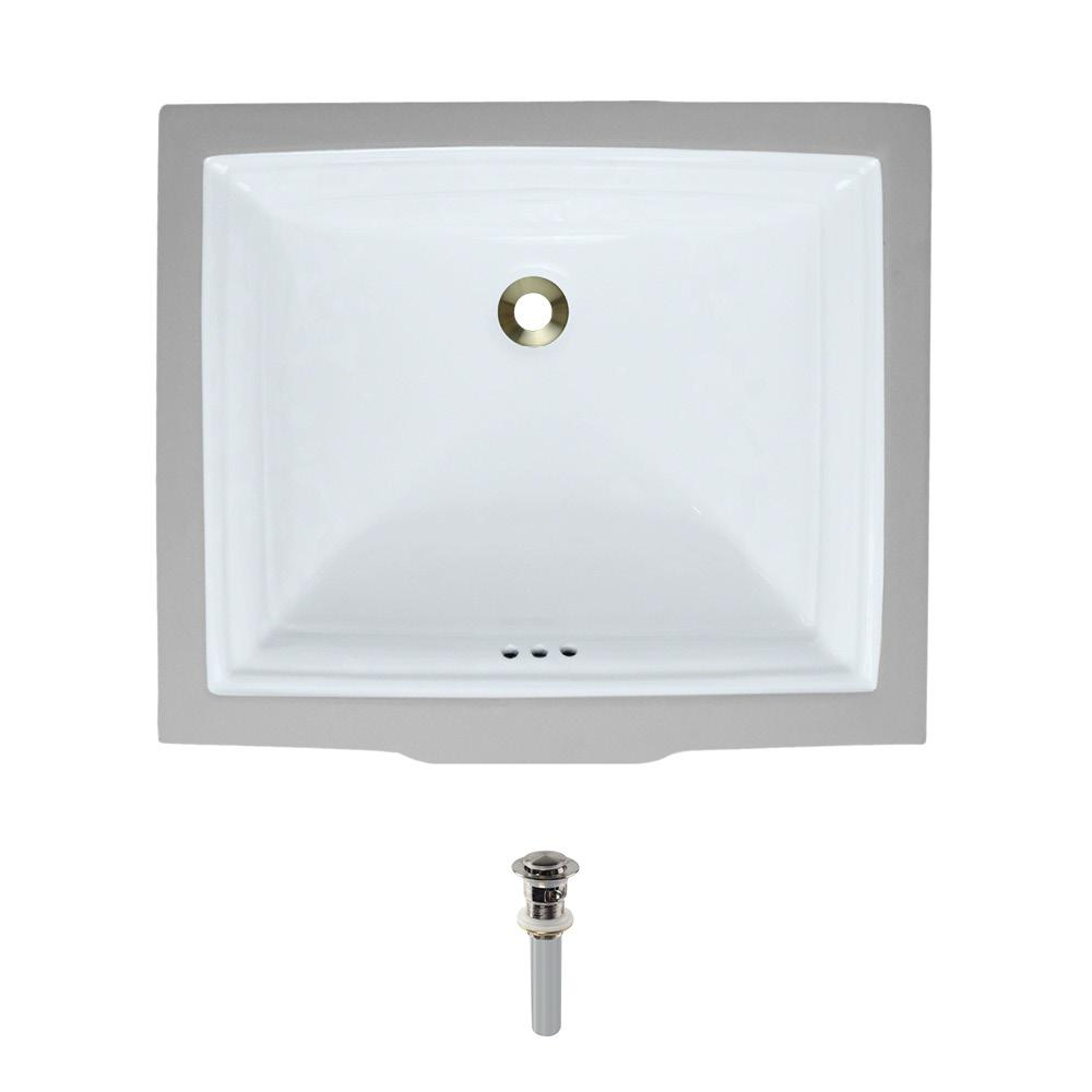Undermount Porcelain Bathroom Sink in White with Pop-Up Drain in Brushed