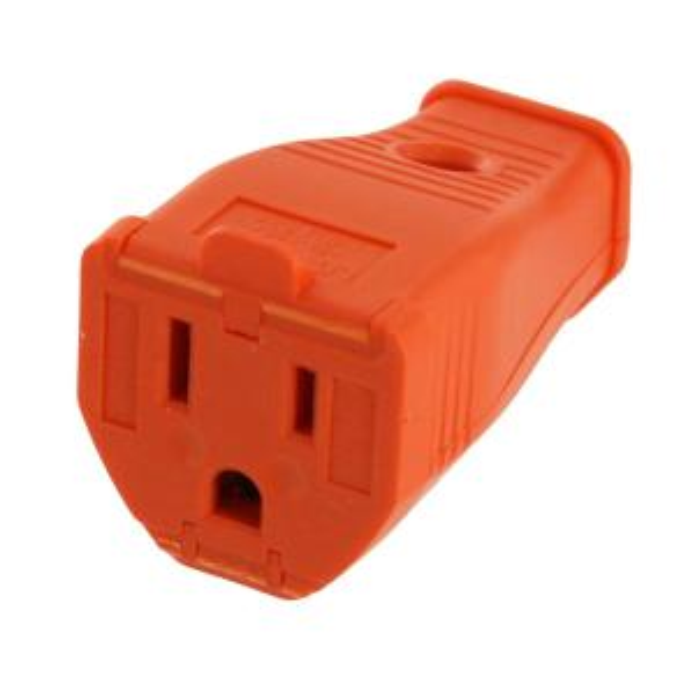 15 Amp 125-Volt 3-Wire Grounding Connector, Orange