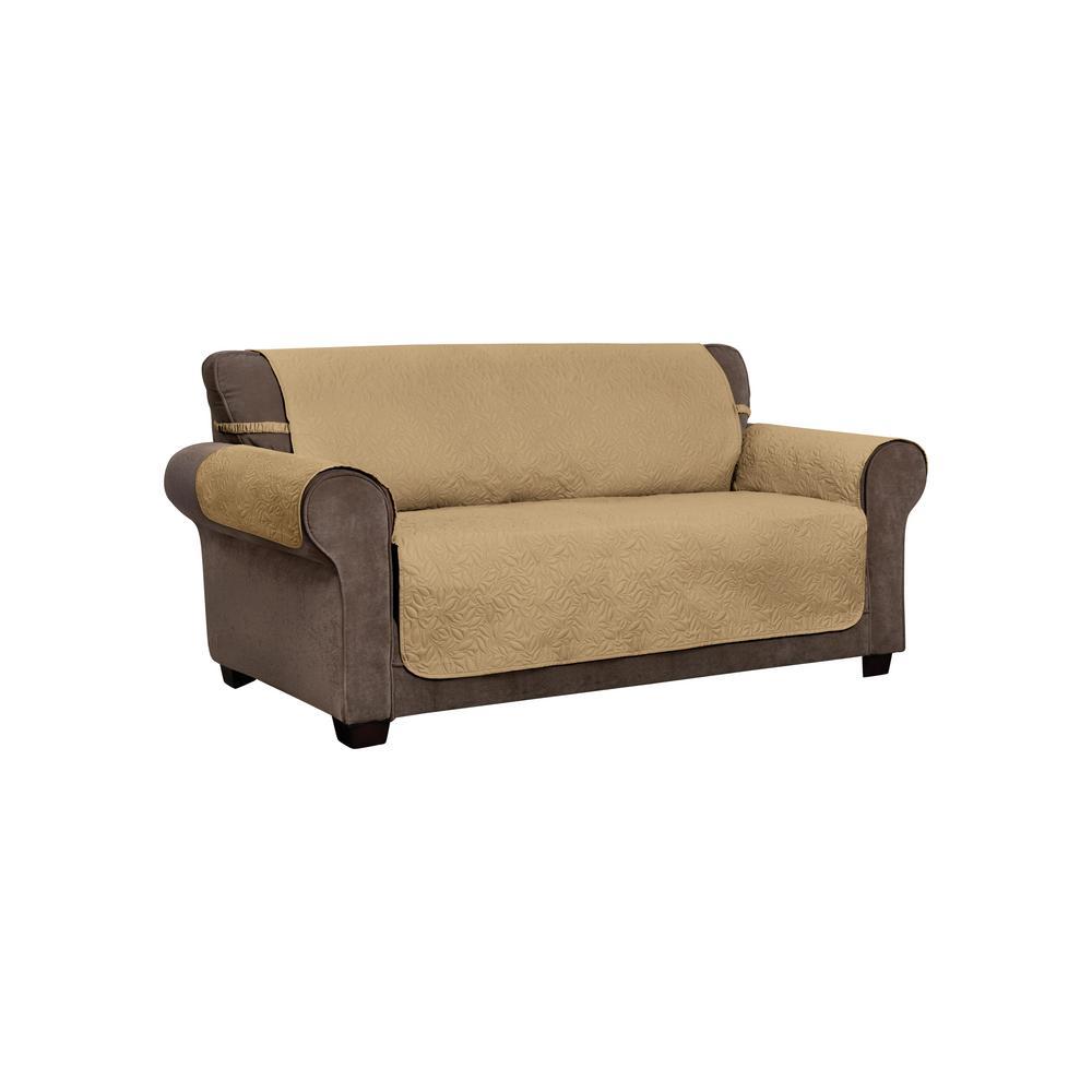 Belmont Leaf Secure Fit Sofa Furniture Cover Slipcover Toast