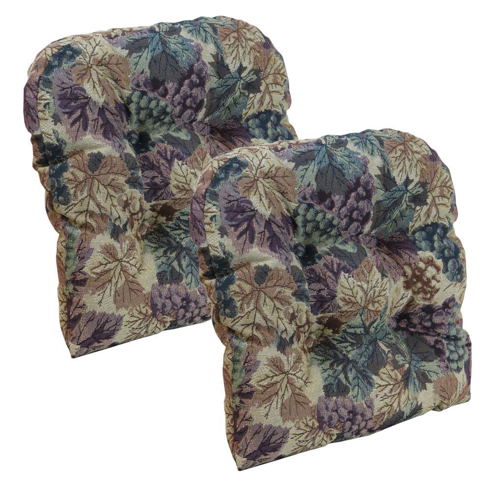 Gripper Non-Slip 15'' x 15'' Cabernet Tufted Universal Chair Cushions (Set