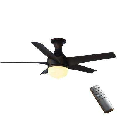 Tuxford 44 in led indoor mediterranean bronze ceiling fan with light kit and remote control