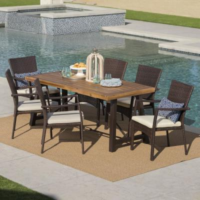 7-Piece Wicker, Wood and Iron Rectangular Outdoor Dining Set with Cream Cushion