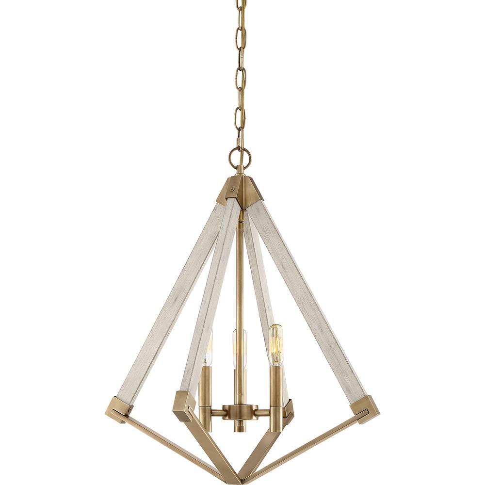 Viewpoint 3-Light Weathered Brass Pendant