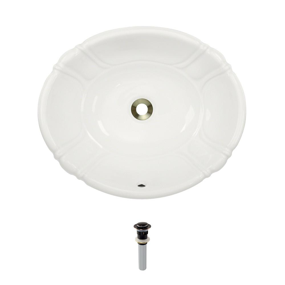 Dual-Mount Porcelain Bathroom Sink in Bisque with Pop-Up Drain in Antique