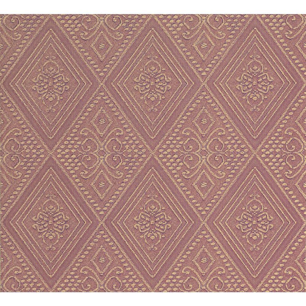 Nicolo Mauve Ornate Diamond Wallpaper