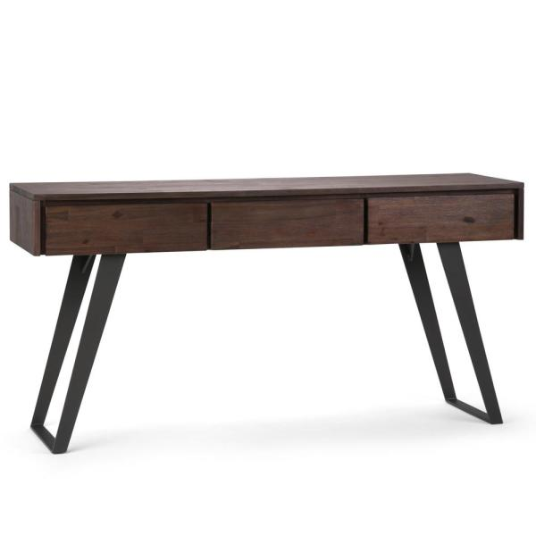 Simpli Home Lowry Solid Acacia Wood and Metal 60 in. Wide Modern ...