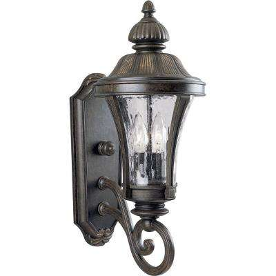 Nottington Collection 2-Light 19.6 in. Outdoor Forged Bronze Wall Lantern Sconce