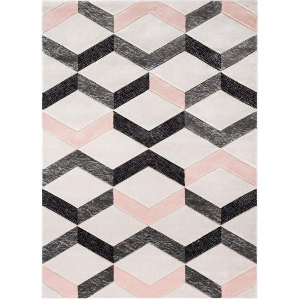 Well Woven Good Vibes Millie Blush Pink Modern Zigzag Stripes 5 Ft 3 In X 7 Ft 3 In Area Rug Gv 17 5 The Home Depot