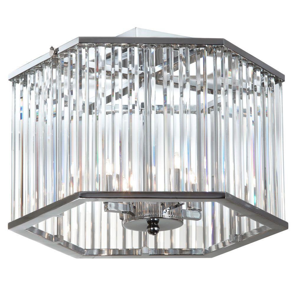 Dainolite Picabo 4-Light Chrome Crystal Semi-Flush Mount