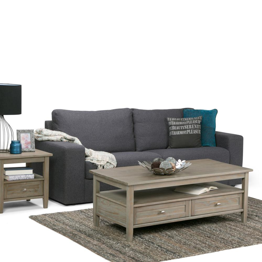 Distressed White Coffee Table With Storage: Simpli Home Distressed Grey Built-In Media Storage Coffee
