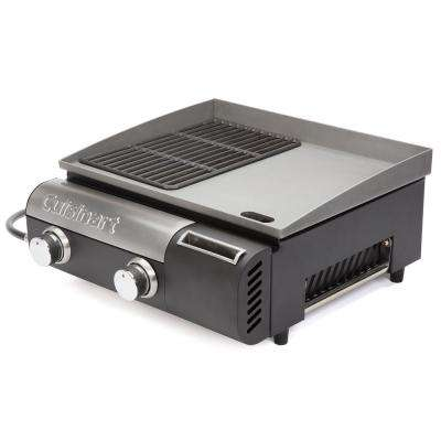 Gourmet Two Burner Gas Griddler in Black/Stainless