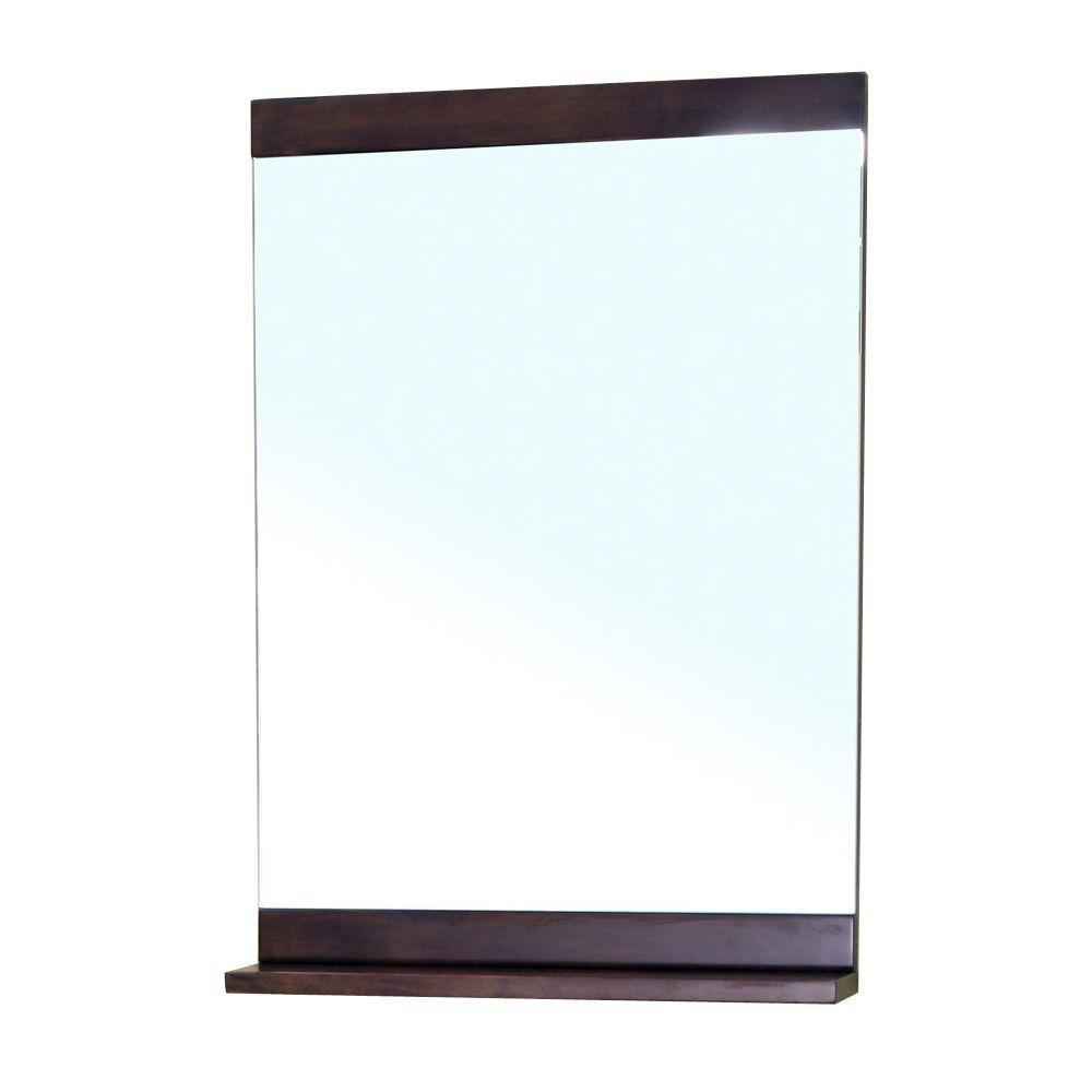 Bellaterra Home Clarendon 32 in. L x 22 in. W Wall Mirror Cabinet in Walnut