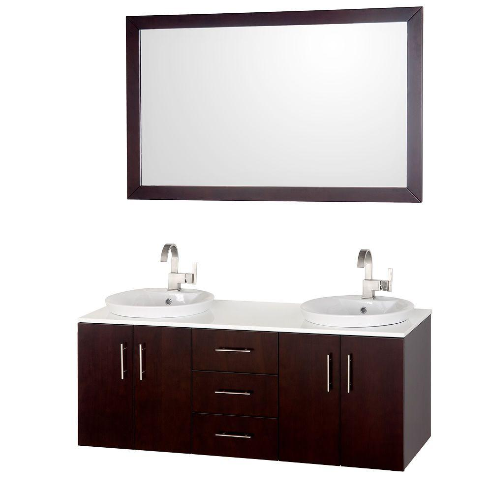 3421bd bathroom vanity ideas - Vanity In Espresso With Glass Vanity Top In White And Mirror