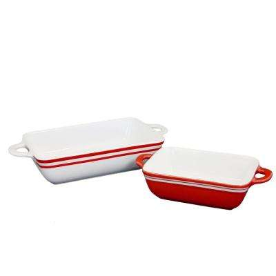 Bistro Edge 2-Piece Red and White Banded Bakeware Set