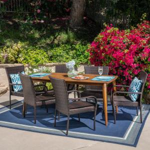 Noble House Alec 7 Piece Wood And Wicker Outdoor Dining Set With Stacking Chairs 41632 The Home Depot