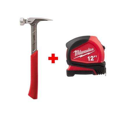 22 oz. Milled Face Framing Hammer with Free 12 ft. Compact Tape Measure